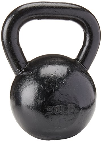 Sunny Health Fitness Black Kettlebell Made with High Grade Cast Iron for Swings, Deadlifts, Snatches, Squats, Cardio and Resistance Training
