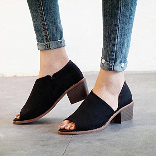 Printemps Creux Chaussures Sandales Side Fish FemmesNoirEu38 5 Été Zipper Et Épais Sasa Mouth 5 Femmes uk5 Pour Avec Mode n8PX0ONwk