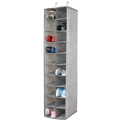 mDesign Zapatero colgante – Organizador de zapatos con 20 compartimentos y estampado con textura – Estantería