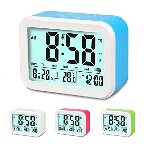 Digital Alarm Clock, MONYAN Electronic Talking Alarm Clocks for Kids,Teens and Heavy Sleepers, 4.5'' Big Display,Smart Backlight,Battery Operated, Snooze Mode,3 Alarms, 7 Rings-Blue (A Clock 1)