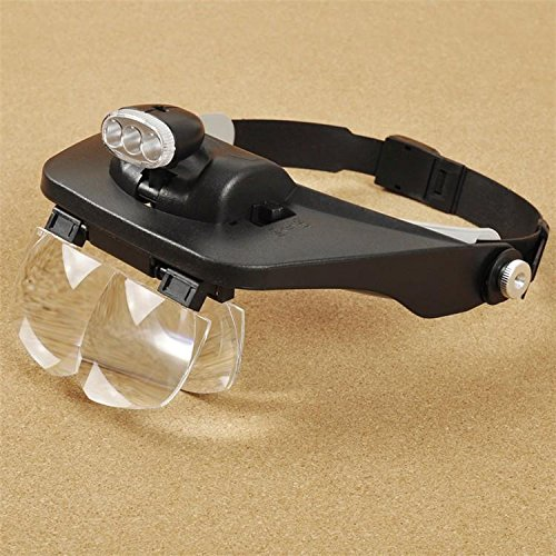 Elderly Accessories M and F 1 PC Head Magnifying Glasses with LED 10 Power Magnifier for Reading Optivisor Magnifying Glass Loupes Jewelry Watch Repair 3 Lamp