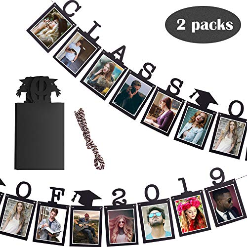 Chinco 2 Sets Graduation Photo Banner Class of 2019 Congratulation Banner Graduation Cap Photo Garland for Graduation Party Favor -