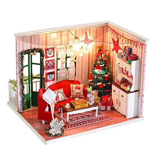Weite 3D DIY Wooden Miniature House Kit, [Dust-Proof Cover Include] Creative Handmade Christmas Dollhouse with LED Light - Educational Puzzles Gift (Multicolor)