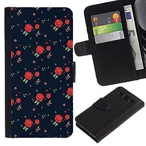 A-type (Roses Vintage Retro Dress Pattern Fashion) Colorida Impresión Funda Cuero Monedero Caja Bolsa Cubierta Caja Piel Card Slots Para Samsung Galaxy S3 III I9300
