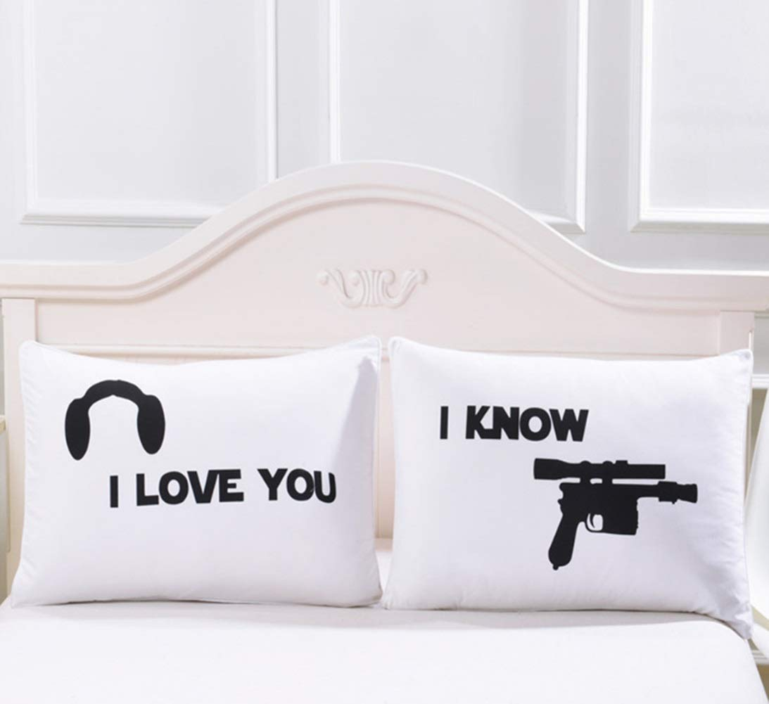 Star Wars Inspired I Love You, I Know Blaster Pillowcase Set Pillowcases-Couples Gifts,His and Hers Gifts for Gifts,Matching Couple Stuff, for Her,Him,Girlfriend,Boyfriend,Husband,Wife by ShuqiCC