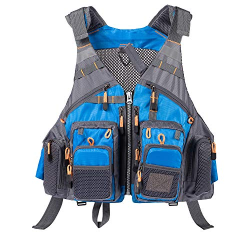 (Lightbare Fly Fishing Vest for Men Women with Multiple Pockets for Photography Hunting Blue)