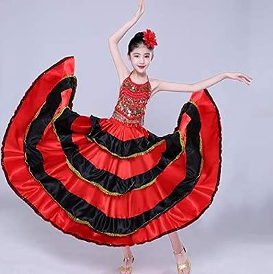 SMACO Falda Flamenca española de satén Negro Rojo sólido con ...