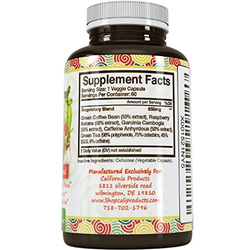 Garcinia Cambogia Extract Fast Acting Weight Loss and Energy Pills for Women & Men - Boost Metabolism with Green Coffee Bean and Raspberry Ketones for Antioxidant Support - Colon Cleanse Supplement