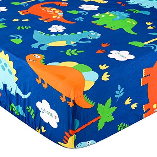 Crib Sheet UOMNY 100% Cotton Crib Fitted Sheets Baby Sheet for Standard Crib and Toddler mattresses Nursery Bedding Sheet Crib Mattress Sheets for Boys and Girls1 Pack Dinosaur