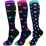 Compression Socks Women 20-30mmHg (3 Pairs) Mens Best Stockings for Running Medical Athletic Edema Diabetic Varicose Veins Travel Pregnancy Shin Splints(Assorted 1, Large/X-Large)