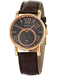 Soul Brown Leather Strap Charcoal Dial Rose Gold Automatic Swiss Watch CH-2821LLRSOGR