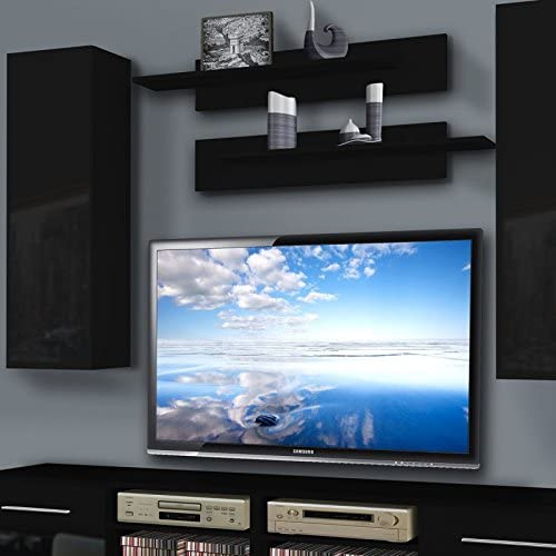 Paris Prix Mueble TV pared invento i Twin 240 cm negro: Amazon.es: Hogar