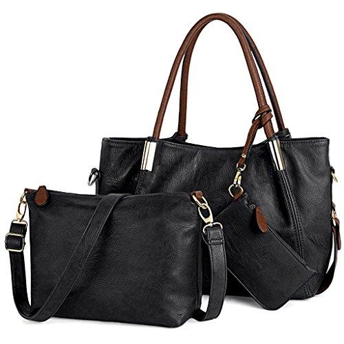 UTO Damen Laptop Handtasche Set 3 Stücke Tasche PU Leder Shopper Crossbody Schultertasche Geldbörse Riemen braun Schwarz