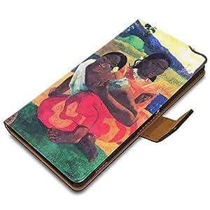 Gauguin - When You Hear, Diseñado Negro Carcasa Funda de Piel Cuero Leather Flip Magnética Stand Case Wallet Pouch Caso con Diseño Colorido para Sony Xperia Z2.