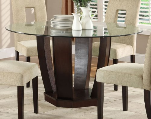 West Palm Round Dining Table w/Glass Top in Espresso by Furniture of America (Round Glass Dining Table Wood Base)