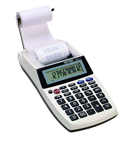 Victor 1205-4 12-Digit Portable Printing Calculator for Business and Office Use, 4X AA Battery Powered Adding Machine Caclulator with Tape, 2.0 ()