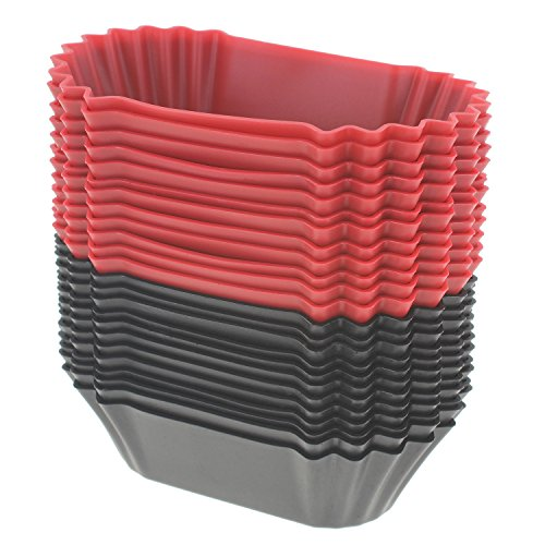 Freshware CB-321RB 24-Pack Silicone Jumbo Rectangle Round Reusable Cupcake and Muffin Baking Cup, Black and Red Colors