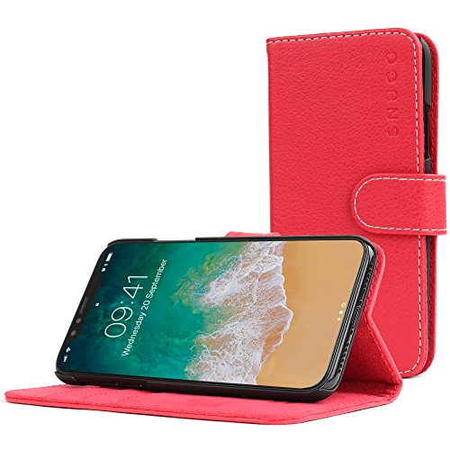 - Snugg iPhone XS Max Case, Snugg Red Leather Flip Case [Card Slots] Executive Apple iPhone XS Plus Wallet Case Cover and Stand Legacy Series (iPhone XS Plus, Red)