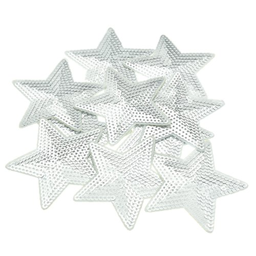 Sequined Star - Iron On Sequined Stars Appliques Silver Pentagram Embroidered Patches 1 Set