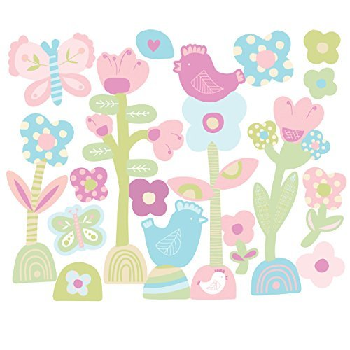 Wallies Peel & Stick Vinyl Wall Decals, Baby Daisy Wall Stickers, Includes Two Sheets of Garden-Themed Wall Stickers by Wallies