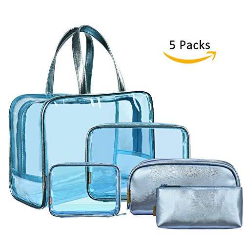 NiceEbag 5 in 1 Clear Makeup Bags Set Travel Cosmetics Storage Bag See Through Transparent PVC Make-up Quart Luggage Carry on Make Up Tools Organizer Toiletry Bags for Women and Girls,Blue by NiceEbag