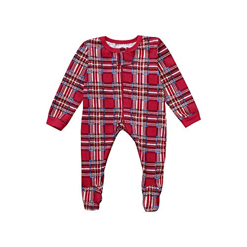 SANFASHION Pajamas Set Family Sleepwear Suit Man Woman Baby Deer Christmas Sleeve Long Nightwear Pajamas Top Pants (Baby Red 5,6M) ()