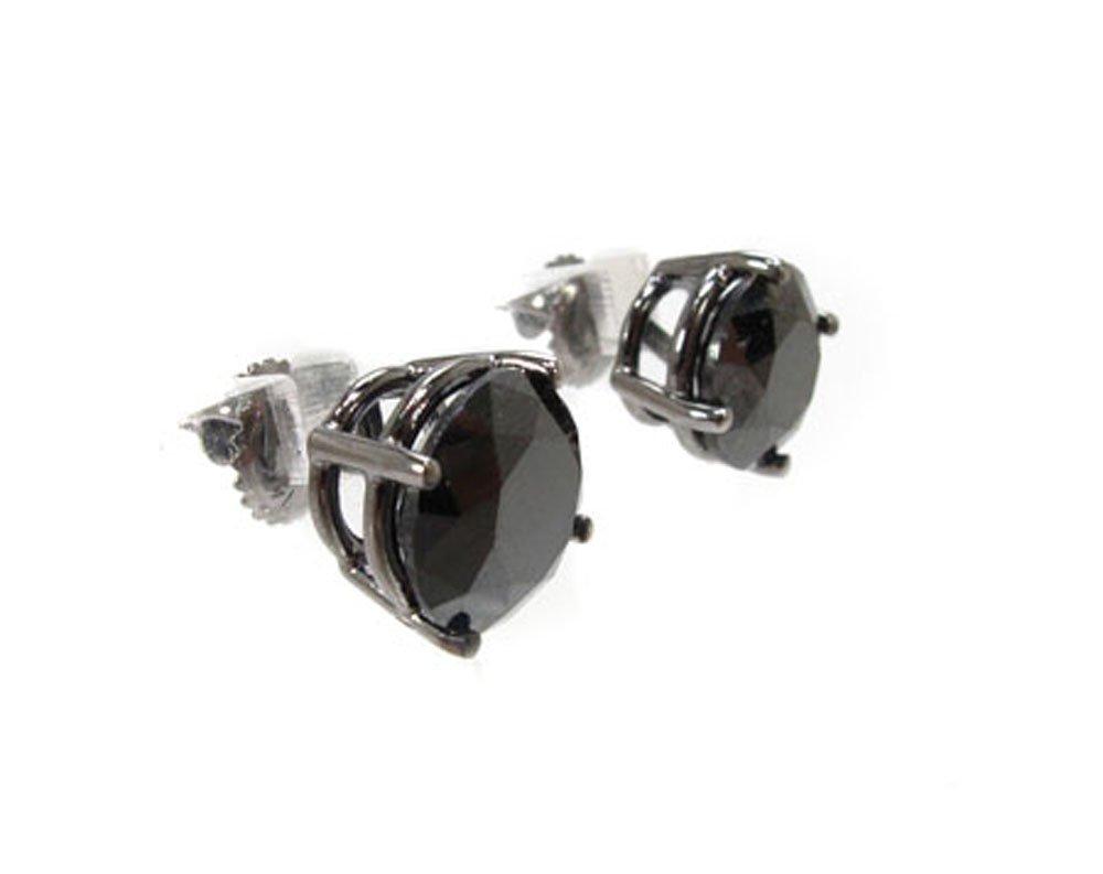 14K Gold 4.00 Carat Genuine Royal Black Diamond Stud Earrings with Screw Backs for Men or Women (Black Gold)