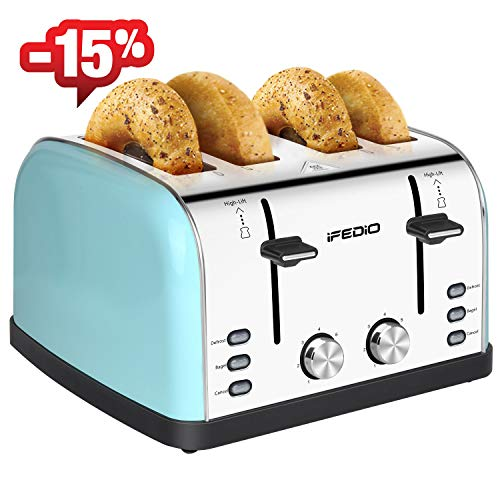 4 Slice Toaster Stainless Steel Extra Wide Slots with Cool