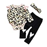 Gorboig Baby Girl Clothes Newborn Romper Bodysuit Pant Sets Infant Outfits with Headband(Leopard,Newborn)
