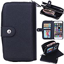 Eloiro for iPhone 6 / iPhone 6s Zipper Wallet Carrying Case, PU Leather Button Lock Closure Shell Detachable Folio Flip Back Cover Protective Soft Skin with Cash and Card Slots & Removable Strap Black