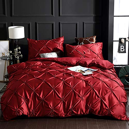 Red Pinch Pleated Bedding Silk Like Satin Duvet Cover Set Burgundy Red Pintuck Silky Microfiber Bedding Sets King (104x90) 1 Duvet Cover 2 Pillowcases (Burgundy Red, King) (Pleated Bedding)