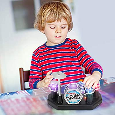 Liberty Imports Electronic Mini Finger Drum Desktop Novelty Set with Sounds and Lights: Toys & Games