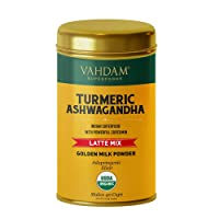 VAHDAM, Organic Golden Milk Powder - Turmeric Latte + Ashwagandha, 40 Cups (3.53 oz) | USDA Organic Golden Milk Tea Powder with Powerful CURCUMIN | Turmeric Powder + Ashwagandha | Turmeric Drink