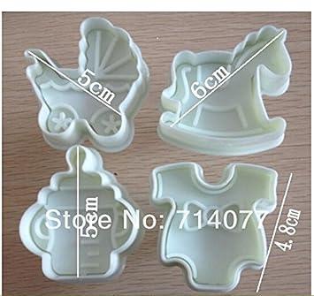Anyana 4 piezas/set Cookie cortador de plástico botella de bebé Trojan transporte molde herramienta