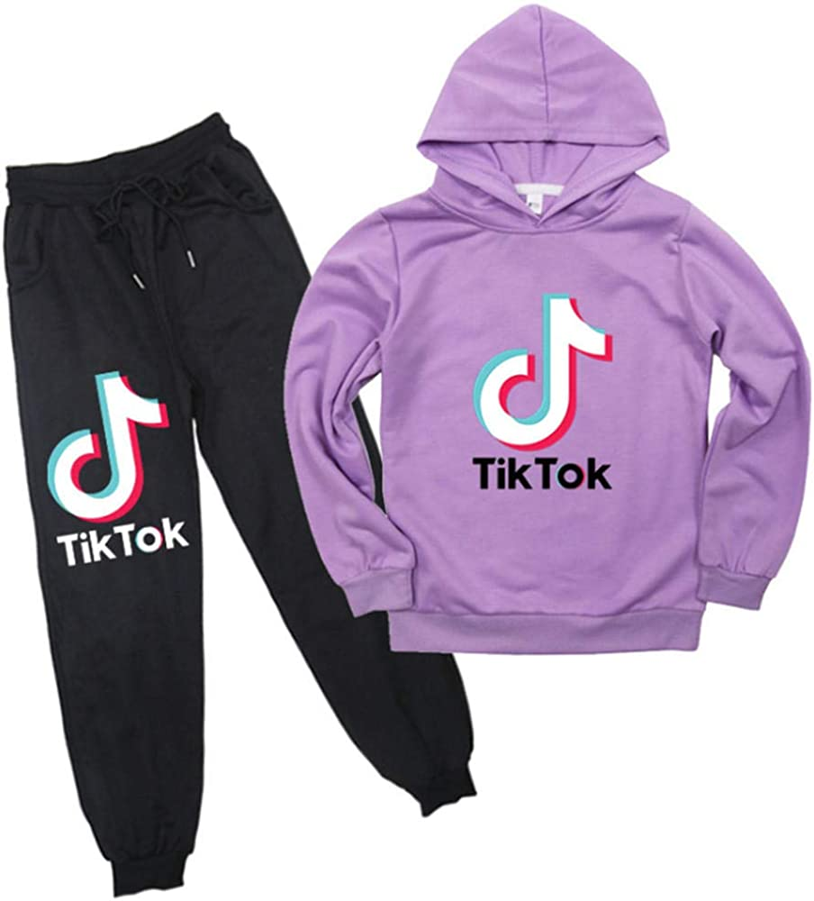Tik Tok Printed Kids Childrens Sweater Set Autumn Thin Hoodie+Belt Pants