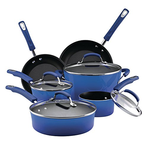 Rachael Ray Brights Nonstick Cookware Pots and Pans Set, 10 Piece, Blue Gradient