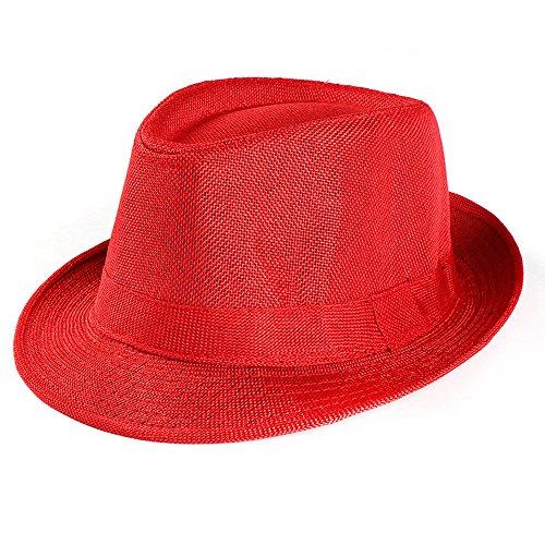 iLXHD Unisex Trilby Gangster Cap Beach Sun Straw Hat Band Sun hat Outdoor Hat Pork Pie hat Red