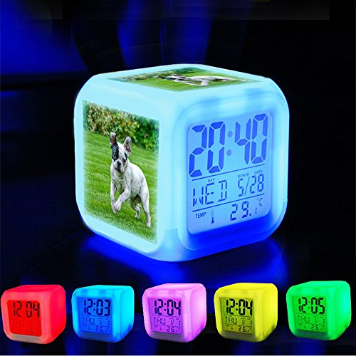 Alarm Clock 7 LED Color Changing Wake Up Bedroom with Data and Temperature Display (Changable Color) Customize the pattern-239.Grass Jump Dog Animal French - Jumps Alarm Clock