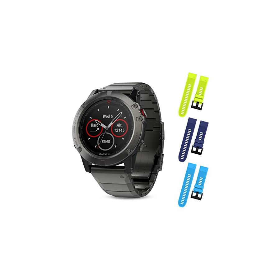 Garmin Fenix 5X Sapphire Black with Metal Band 51mm GPS/Glonass Multisport Watch 010 01733 04 and Three Additional Wearable4U Quick Release Silicone Watch Bands Bundle