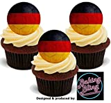12 x Euro's World Cup Germany German Flag Footballs - Fun Novelty Birthday PREMIUM STAND UP Edible Wafer Card Cake Toppers Decoration