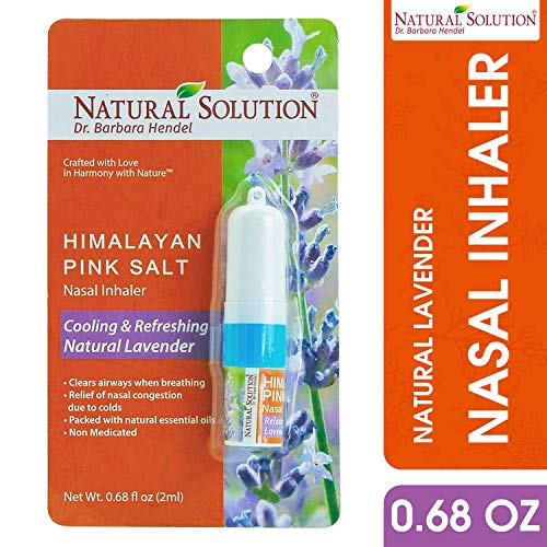 Natural Solution Himalayan Pink Salt Aromatherapy Nasal Inhaler,Cooling & Refreshing, Relaxing Lavender With Natural Essential Oils,Clear Airways When Breathing - 0.68 oz (Best Remedy To Stop Coughing)