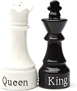 Queen and King Chess Magnetic Ceramic Salt and Pepper Shakers