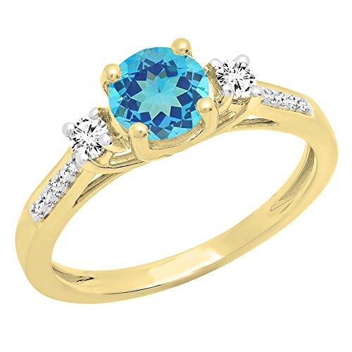 Dazzlingrock Collection 18K 5 MM Round Blue Topaz, White Sapphire & Diamond Ladies Engagement Ring, Yellow Gold, Size 4.5 (Topaz Ring 18k)