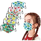 5PCS Kids Face Covering, Reusable with Ear Straps Cotton Cute Cartoon Face Bandanas with Printing Fits Toddlers to Teens