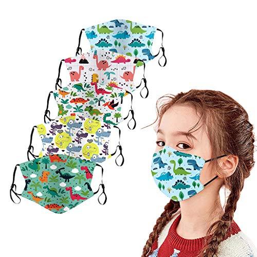 LA GUAPA 5Pcs Kids Reusable Cotton Face Bandanas Washable Face Mouth Covering Face Fabric Dust Breathable Seamless Cute Print Cotton Facewear for Children Boys Girls