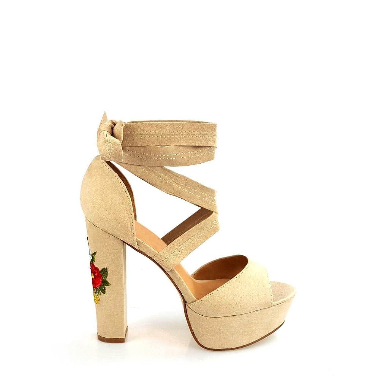 f7ce4ddc267a Julia Ladies Women Floral Detail High Block Heel Ankle Wrap Around Open Toe  Peep Toe Platform Sandal  Amazon.co.uk  Shoes   Bags