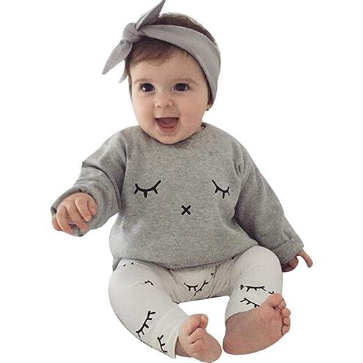 10a16113eaa Amazon.com  2019 New Cute G-Real 2PCS Toddler Baby Boy Girl Eyelash Print T- Shirt Tops+Pants Outfits Clothes  Clothing