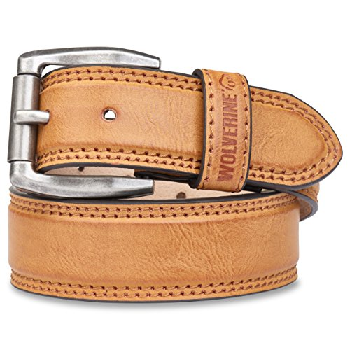 Wolverine Men's Double Topstitched Leather Belt Roller Buckle (40,Tan)