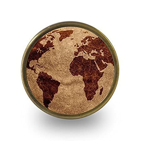 Pushka Home Vintage Dark brown world map cupboard door knob ...