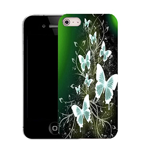 Mobile Case Mate IPhone 5S clip on Silicone Coque couverture case cover Pare-chocs + STYLET - charming butterflies pattern (SILICON)